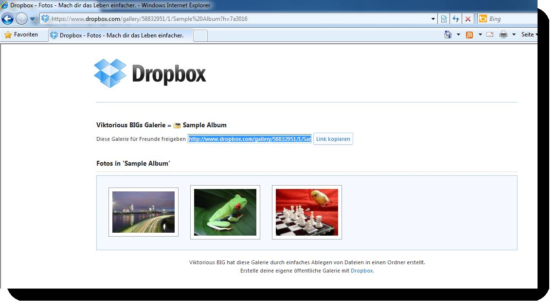 Dropbox Bilder-Galerie