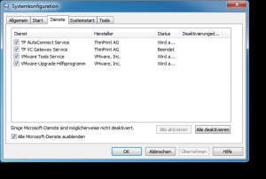 Systemkonfiguration Dienste