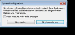 Windows nach Änderungen Neustarten