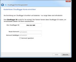 Cloudfogger Einrichtungsassistent Konto einrichten
