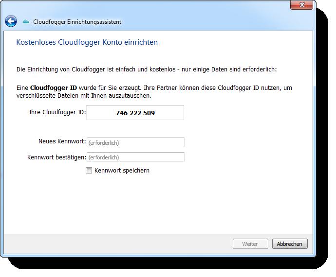 Cloudfogger Einrichtungsassistent um ein Konto einrichten