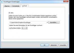 Cloudfogger Einstellungen Laufwerk