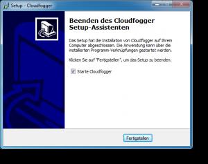 Cloudfogger Abschluss der Installation