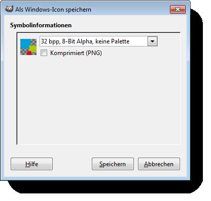 Gimp Windows icon speichern