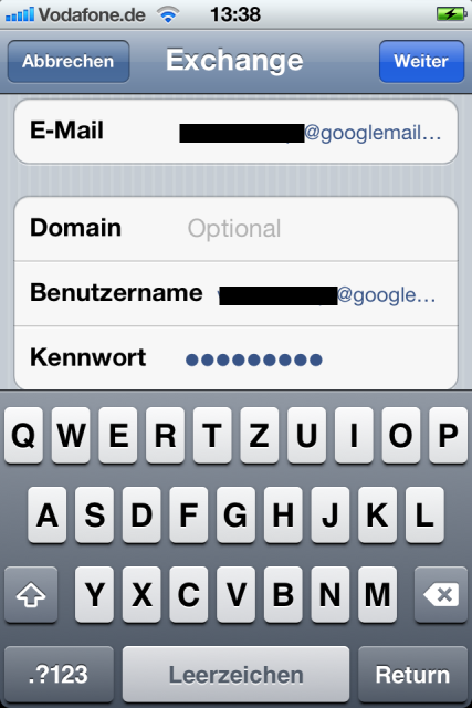 Google Mail Exchange Daten