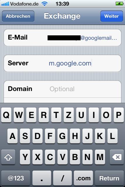 Google Mail Exchange Daten mit Servernamen