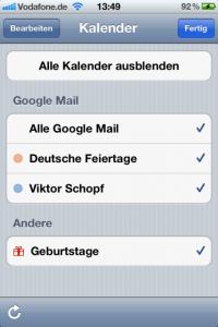 Google Mail Kalender Auswahl