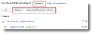 Google Dashboard leeren