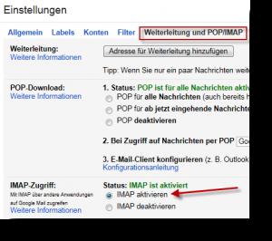 Google Mail IMAP aktivieren