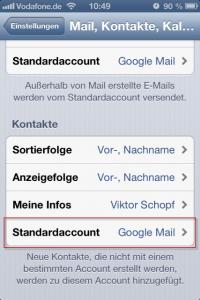 iPhone Standard-Kontakteordner