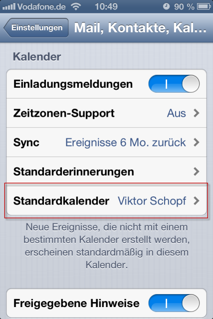 iPhone Standardkalender