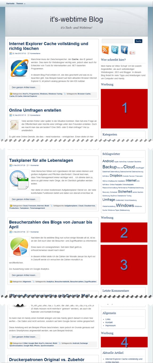 Werben im Blog Hauptseite