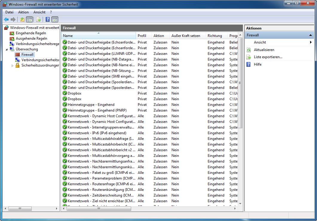 Windows-Firewall mit erweiterter Sicherheit