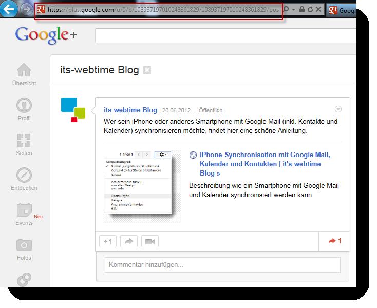 Google Plus Beitrag verlinken