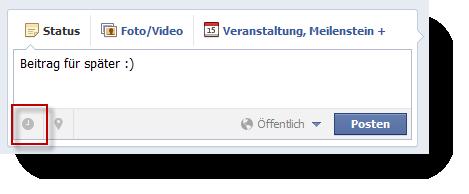 Facebook Beitrag terminieren