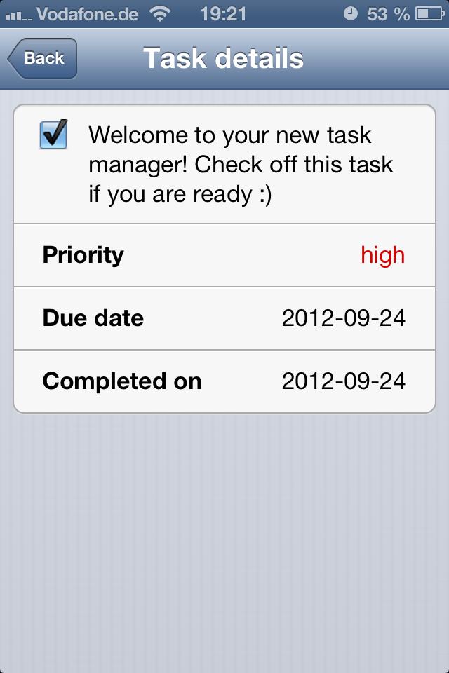 Thundertask iPhone Applikation Taskplaner