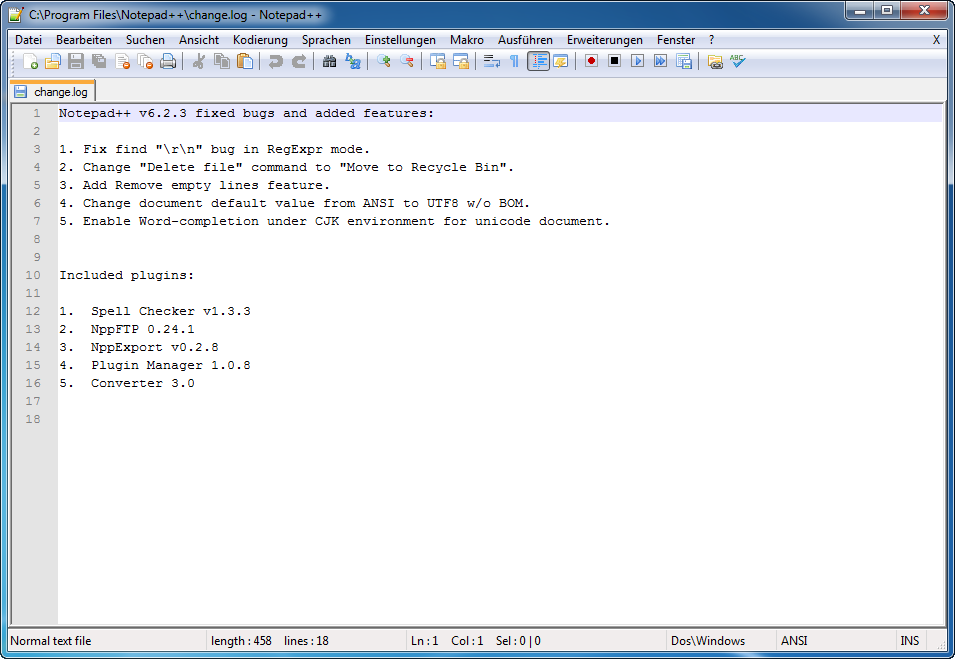 Notepad++ Hauptfenster