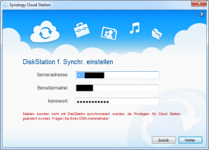 Synology Cloud Station Client Fehler