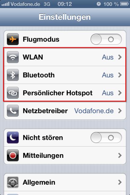 iPhone Konnektivitätseinstellungen