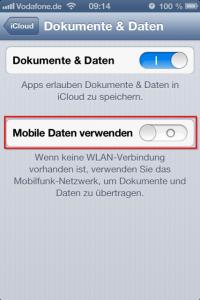 iPhone iCloud Dokumente und Daten