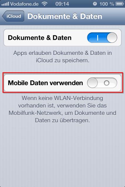 mobile daten verwenden iphone