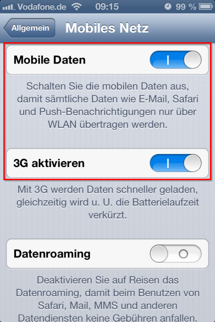 iPhone mobile Daten 3G