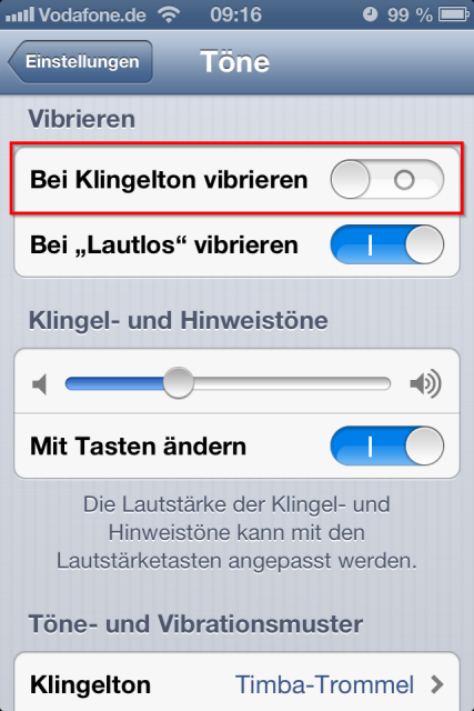 iPhone Vibration bei Klingelton