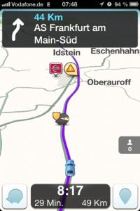 Waze Navigation aktiv