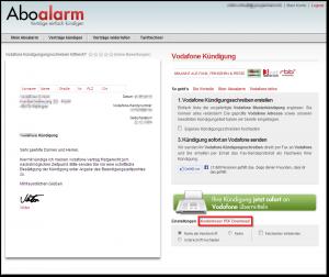 Aboalarm PDF Kündigungsvorlage