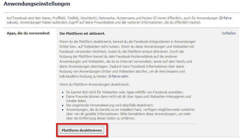 FB Anwendungsplattform deaktivieren