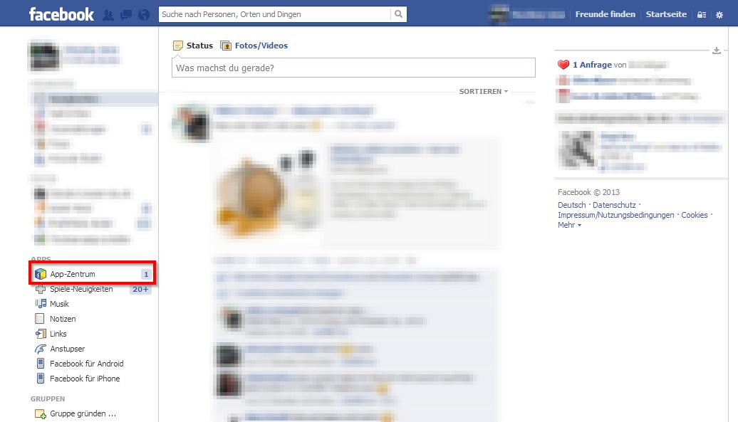 Facebook App-Zentrum