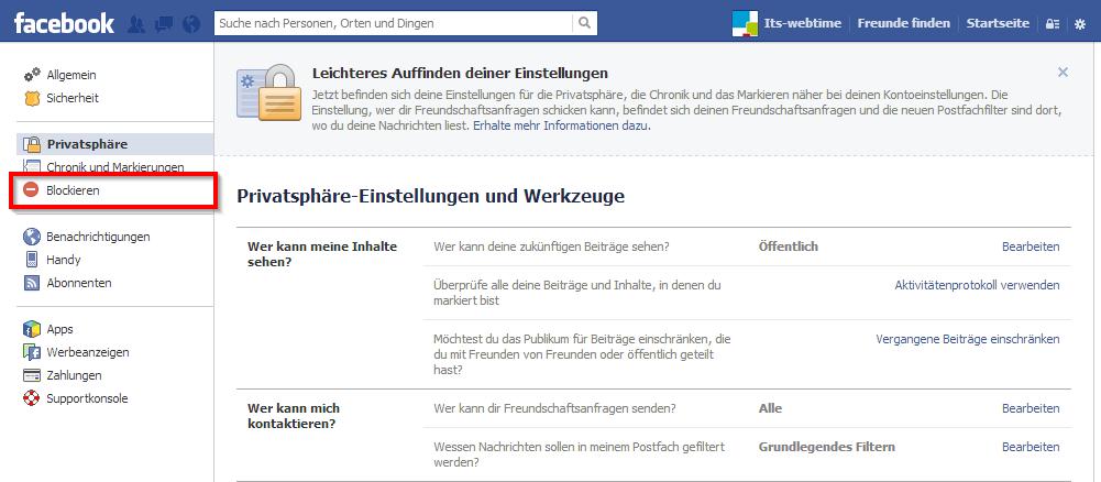 Facebook Anwendungen blockieren