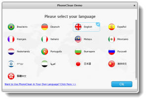 PhoneClean Sprache auswählen