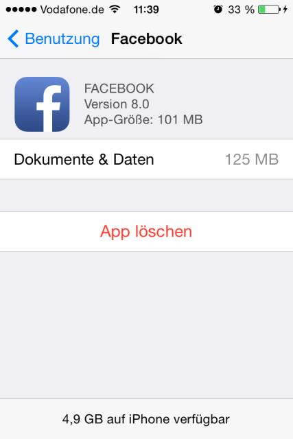 iPhone Facebook App Cache