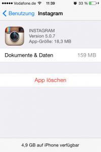 iPhone Instagram App Cache
