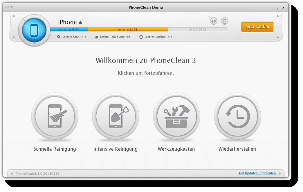 PhoneClean Benutzeroberfläche